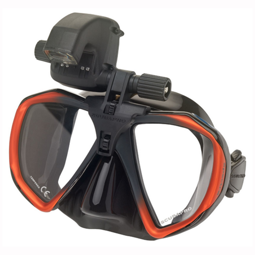 ScubaPro Galileo HUD (Heads-Up Display) and Transmitter Installed on Mask (mask not included)