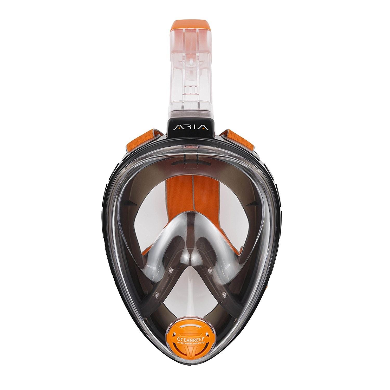 Ocean Reef Aria QR+ Full Face Snorkel Mask with Camera Holder - Black