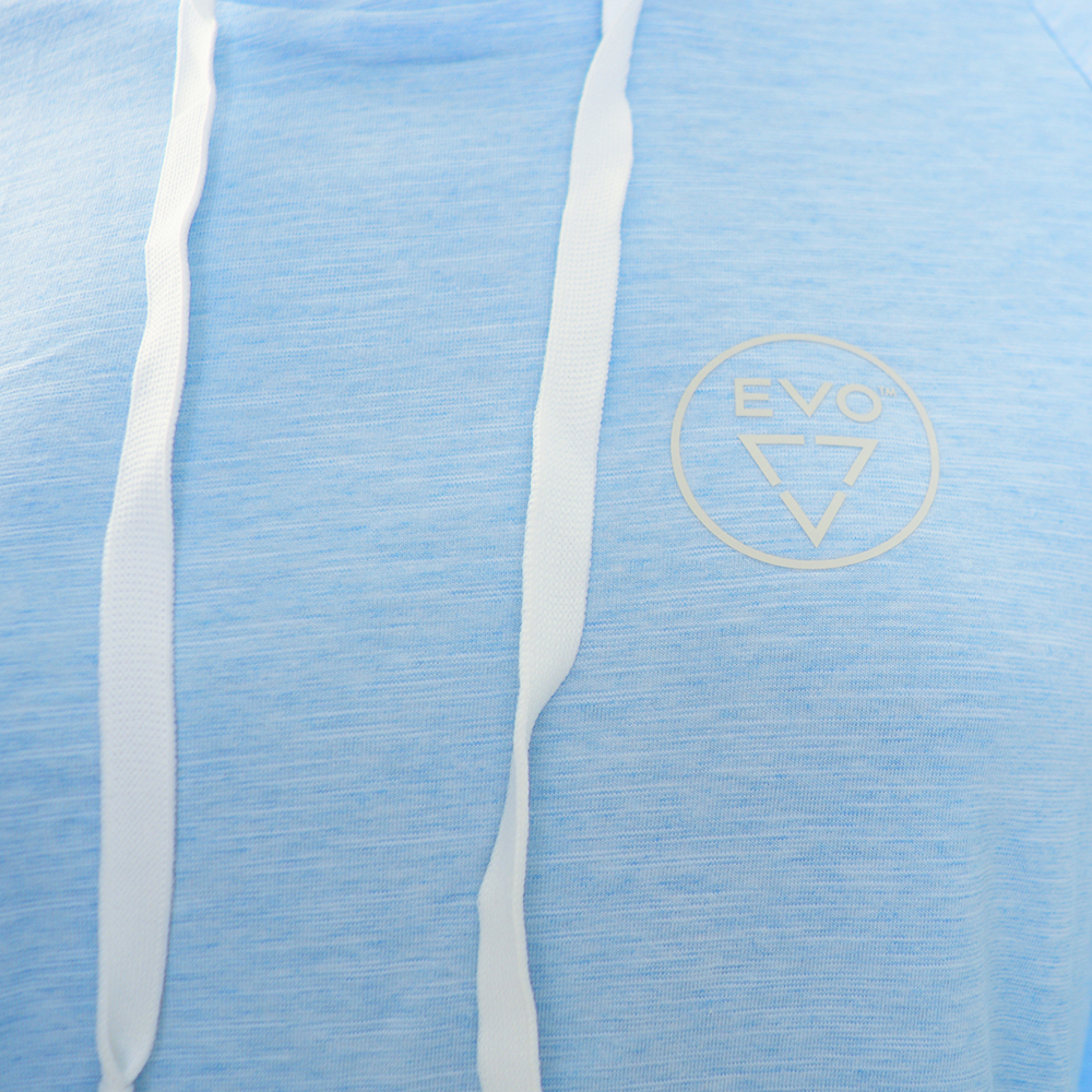 EVO Helm Hooded Long Sleeve Performance Shirt (Women's) Detail - Light Blue