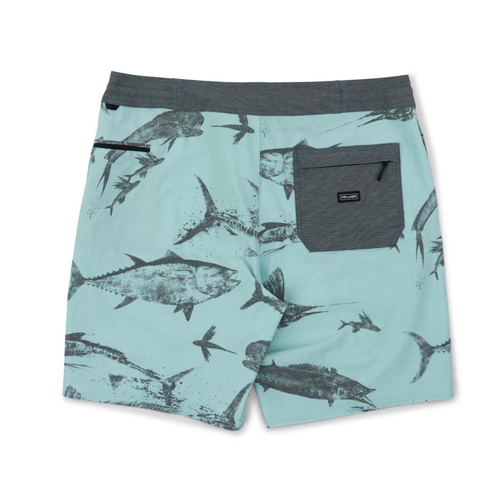 Pelagic Gyotaku Deep Drop Fishing Shorts (Men's) Back - Turquoise