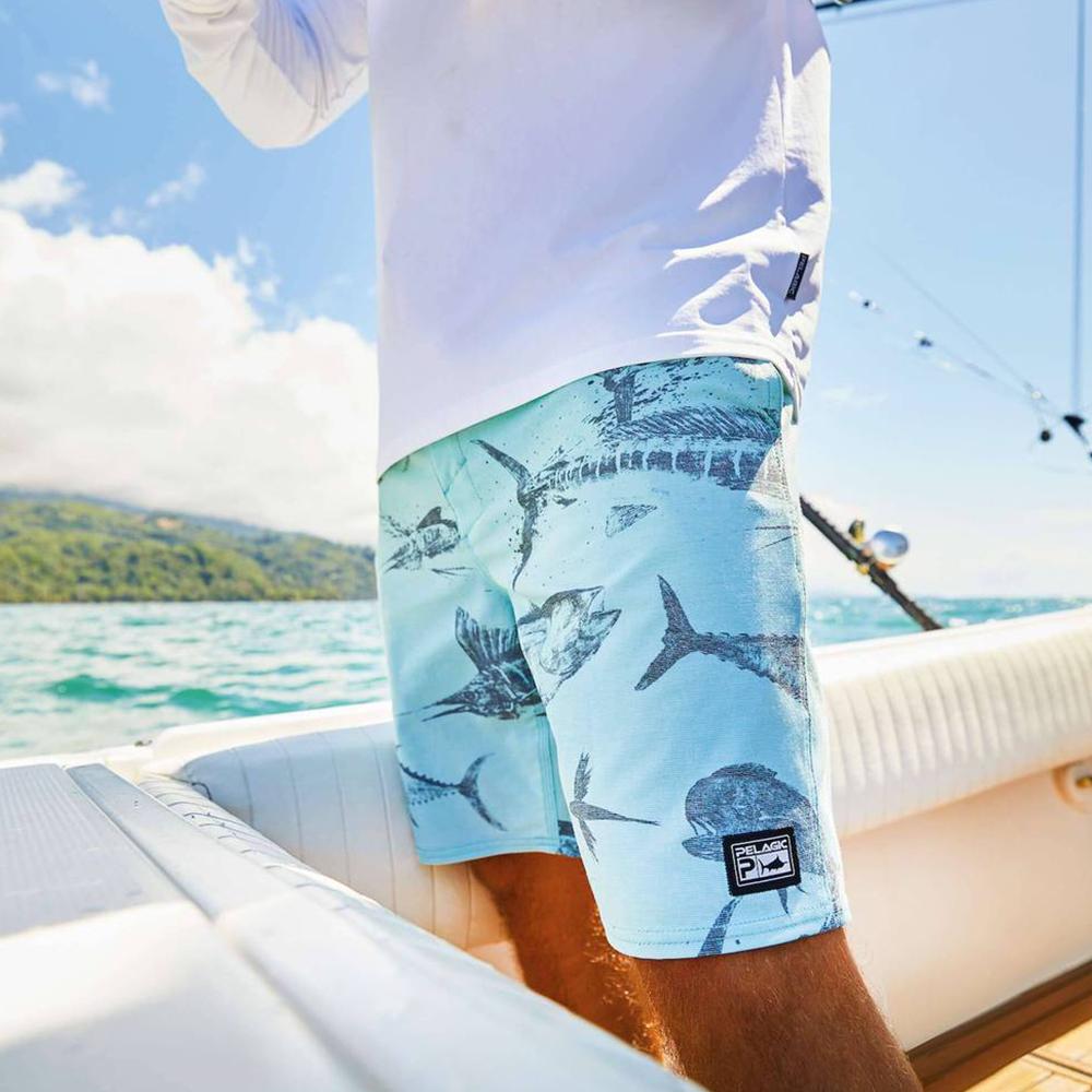 Pelagic Gyotaku Deep Drop Fishing Shorts (Men's) Lifestyle - Turquoise