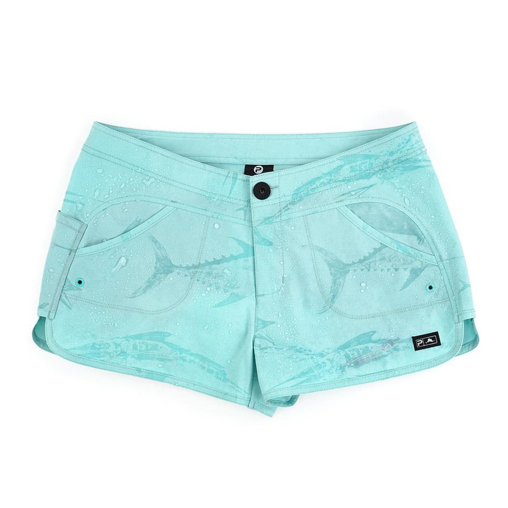 Pelagic Deep Sea Hybrid Shorts Gyotaku (Women's) Wet - Turquoise