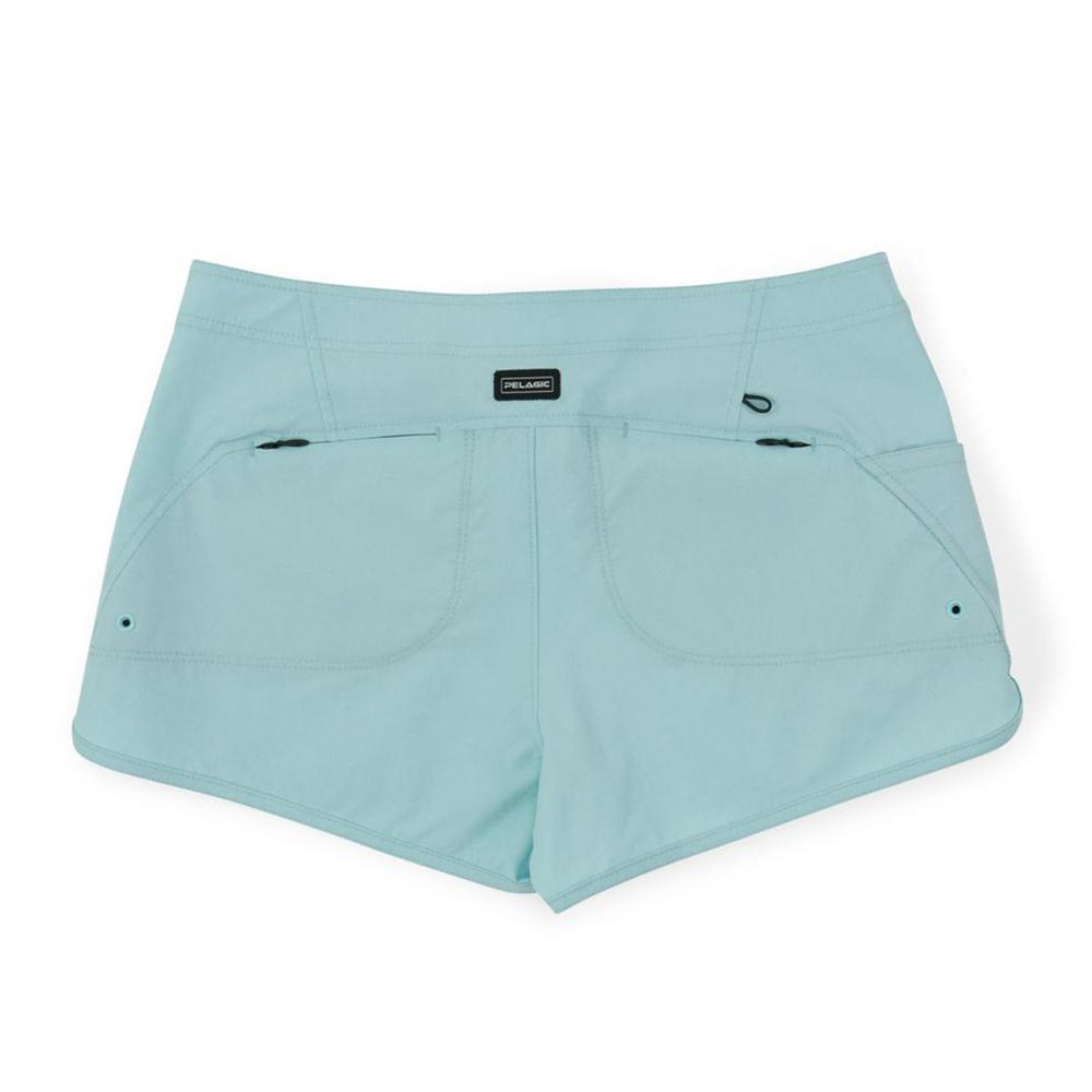 Pelagic Deep Sea Hybrid Shorts Gyotaku (Women's) Back - Turquoise