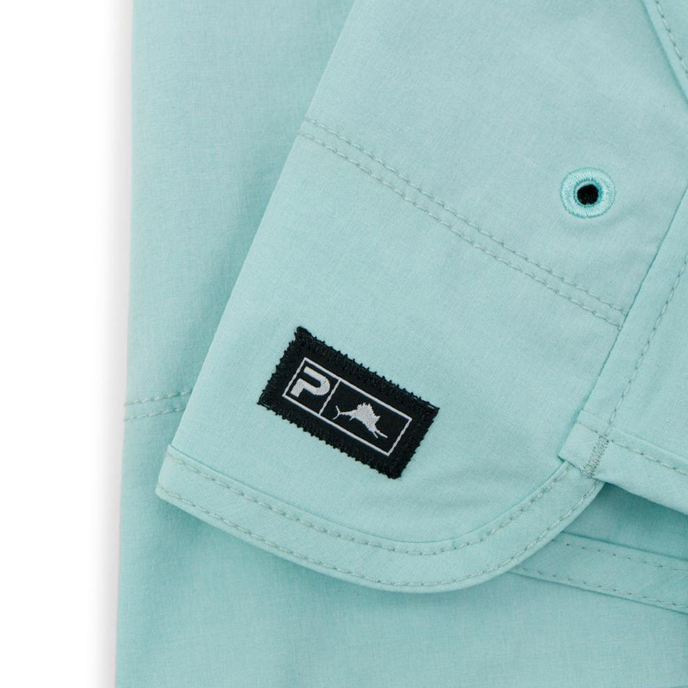 Pelagic Deep Sea Hybrid Shorts Gyotaku (Women's) Hem Detail - Turquoise