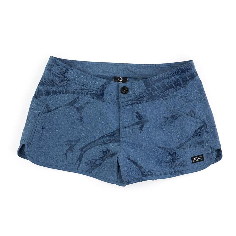 Pelagic Deep Sea Hybrid Shorts Gyotaku (Women's) Wet - Smokey Blue