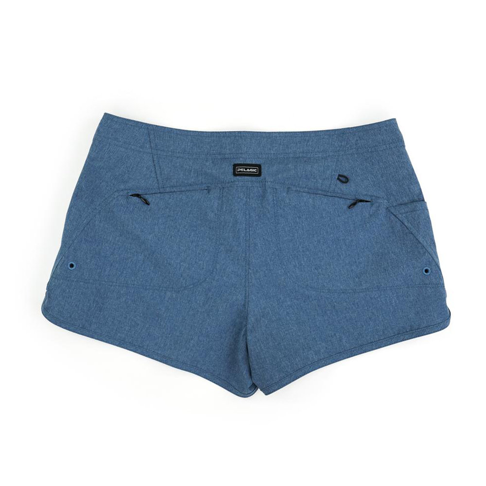 Pelagic Deep Sea Hybrid Shorts Gyotaku (Women's) Back - Smokey Blue