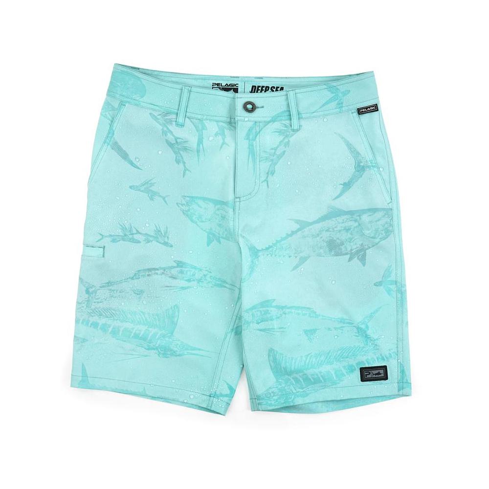 Pelagic Deep Sea Hybrid Shorts Gyotaku (Youth) Wet - Turquoise