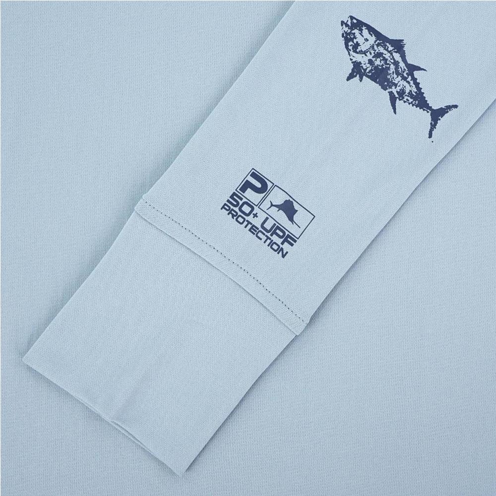 Pelagic Ultratek Hoody Gyotaku (Women's) Sleeve Detail - Smokey Blue