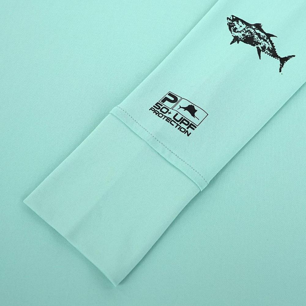 Pelagic Ultratek Hoody Gyotaku (Women's) Sleeve Detail - Turquoise