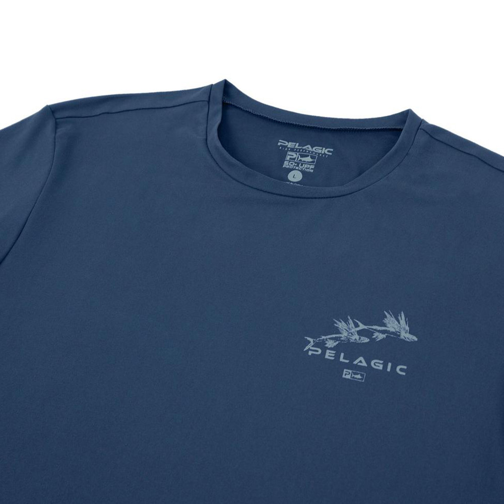 Pelagic Premium UV Gyotaku T-Shirt Neck Detail - Smokey Blue