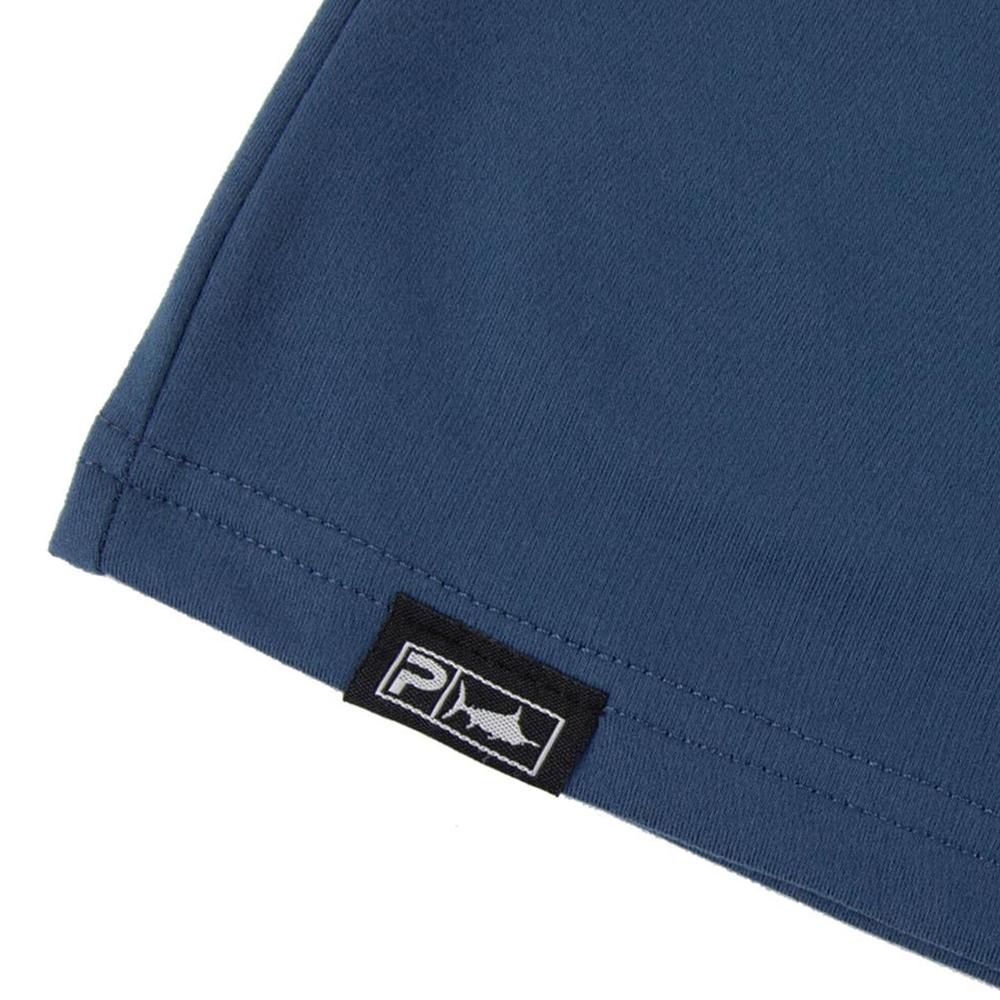 Pelagic Premium UV Gyotaku T-Shirt Hem Detail - Smokey Blue