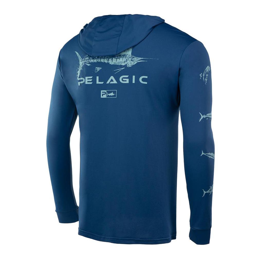Pelagic Gyotaku Aquatek Hoodie - Smokey Blue
