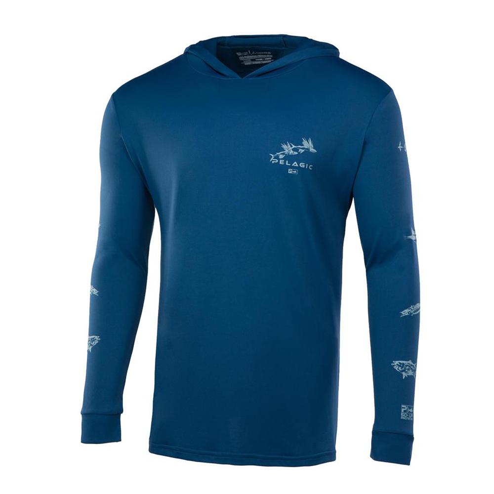 Pelagic Gyotaku Aquatek Hoodie Front - Smokey blue