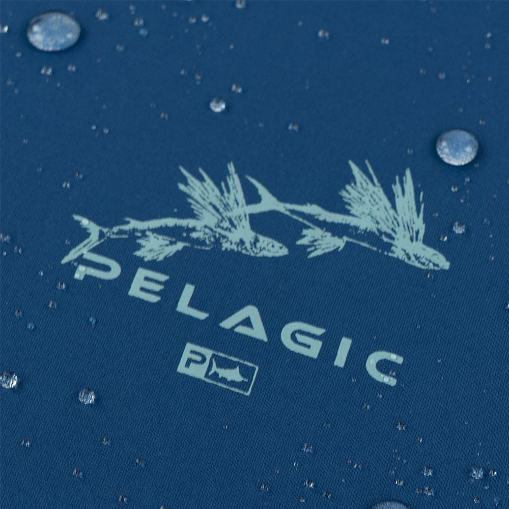 Pelagic Gyotaku Aquatek Hoodie Wet Detail - Smokey Blue