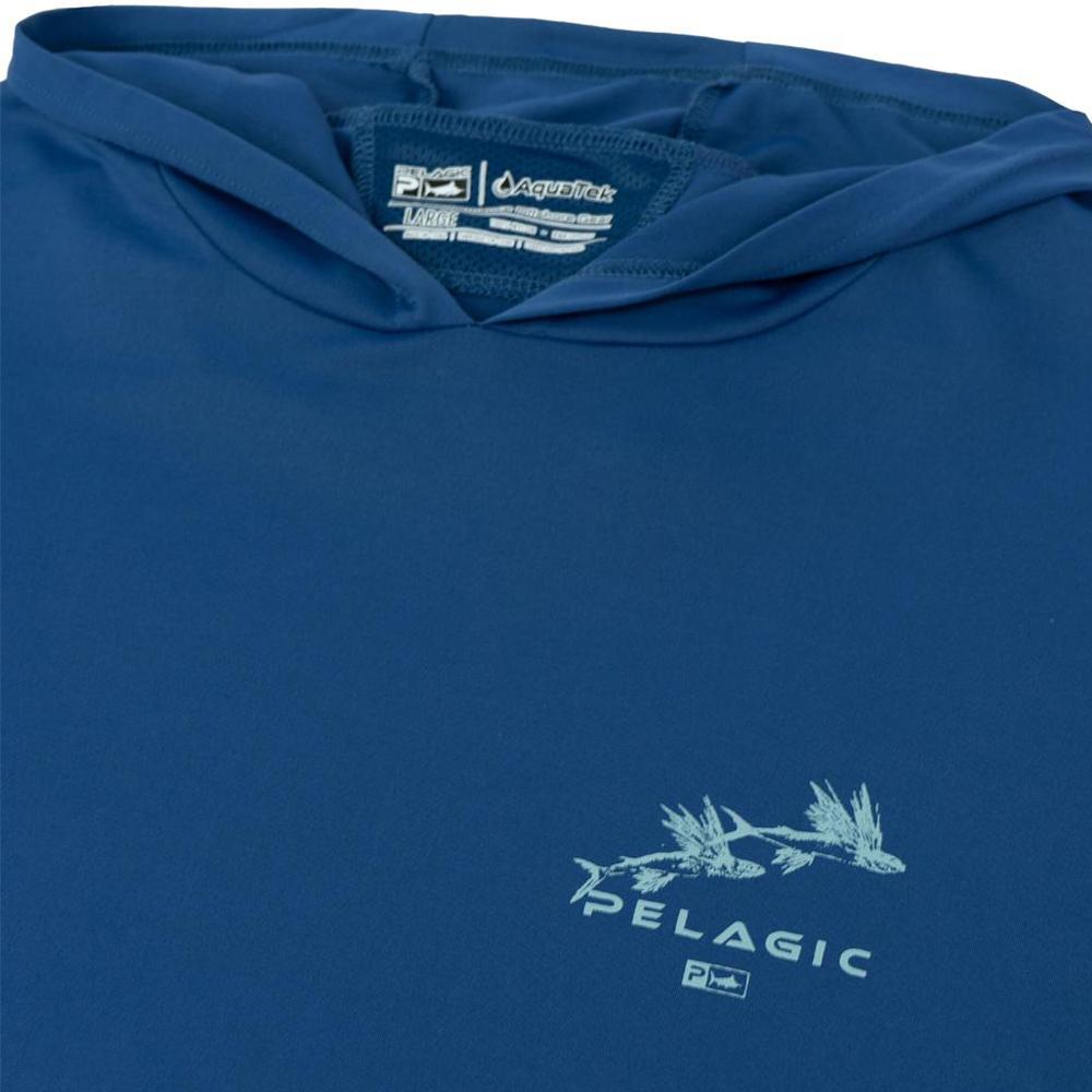 Pelagic Gyotaku Aquatek Hoodie Neck Detail - Smokey Blue