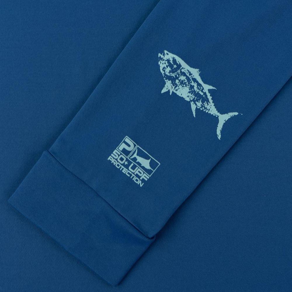 Pelagic Gyotaku Aquatek Hoodie Sleeve Detail - Smokey Blue