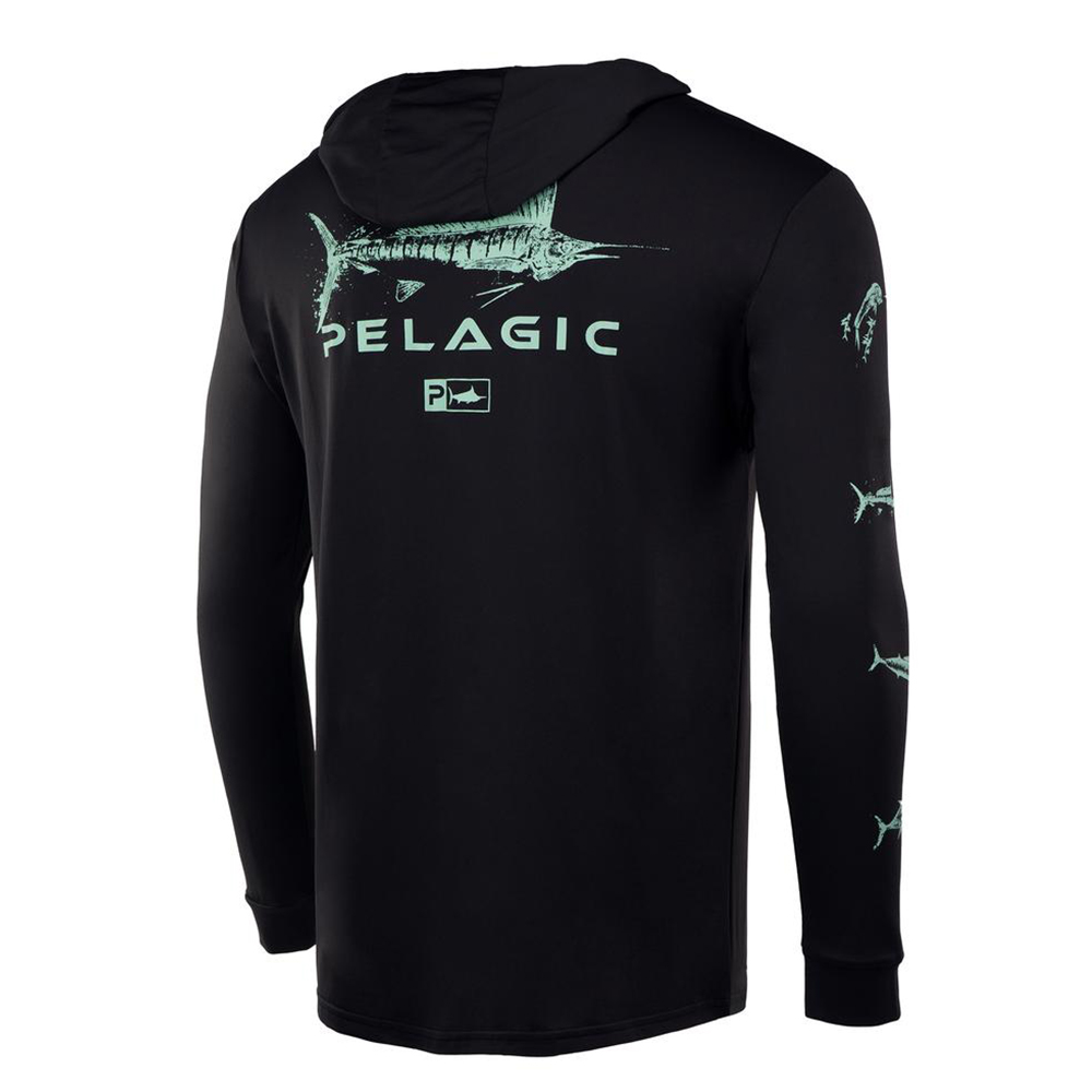 Pelagic Gyotaku Aquatek Hoodie - Black