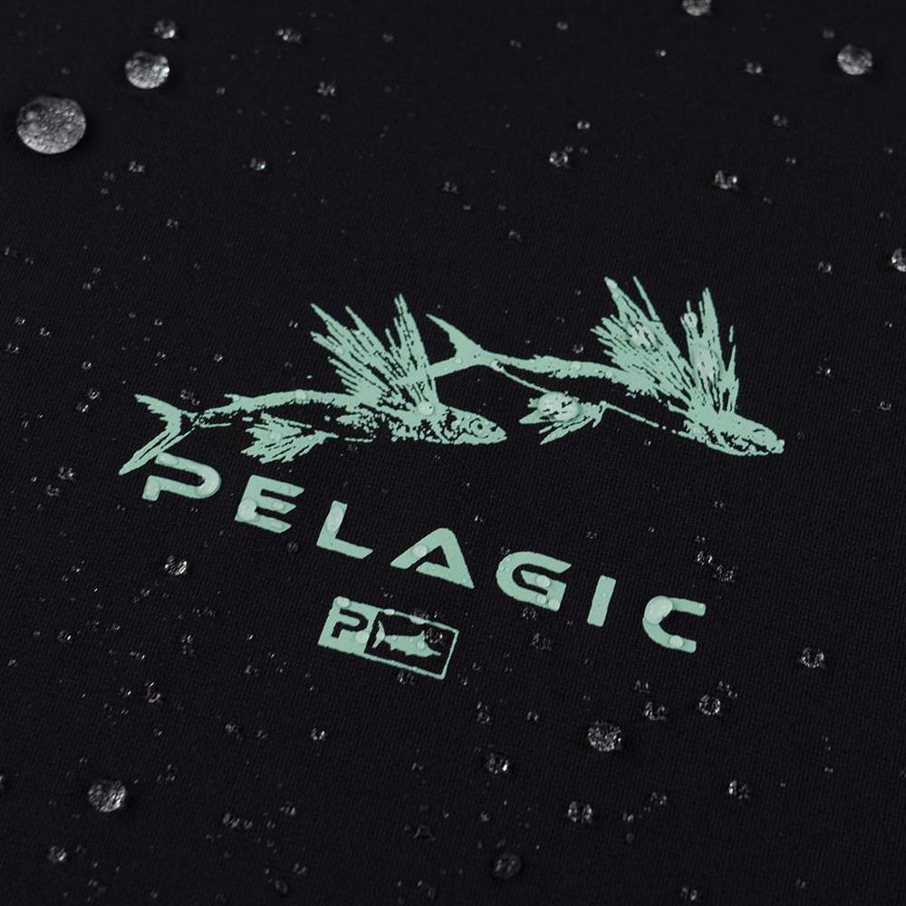 Pelagic Gyotaku Aquatek Hoodie Wet Detail - Black