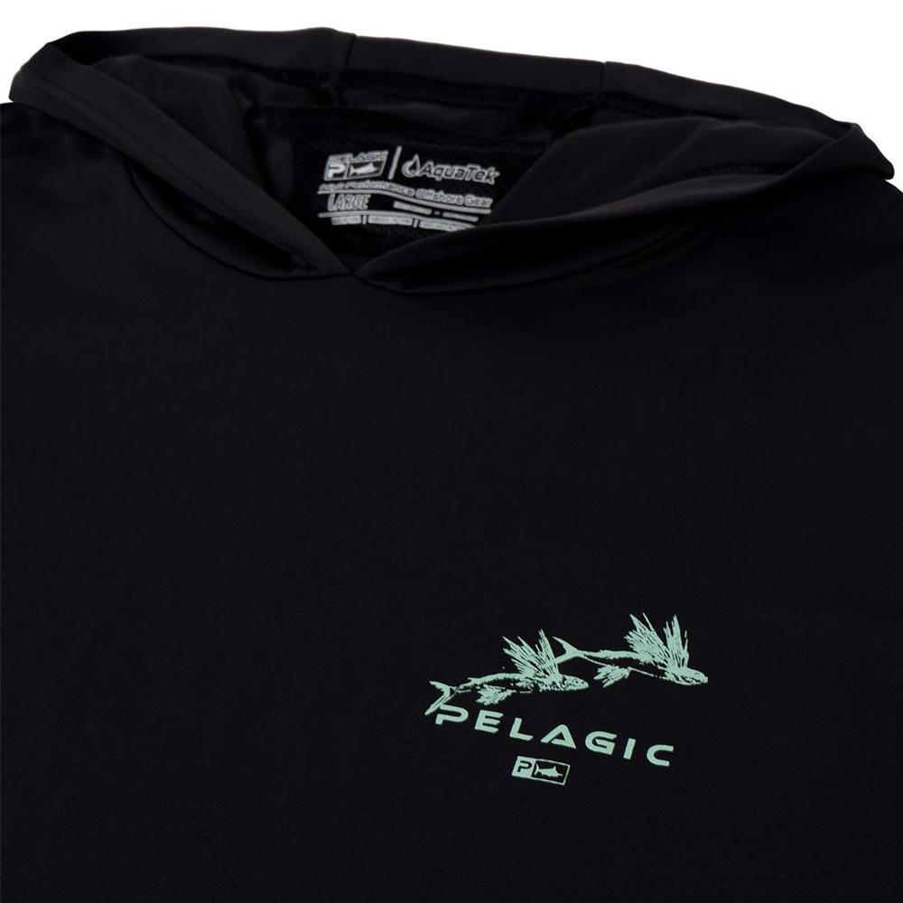 Pelagic Gyotaku Aquatek Hoodie Neck Detail - Black