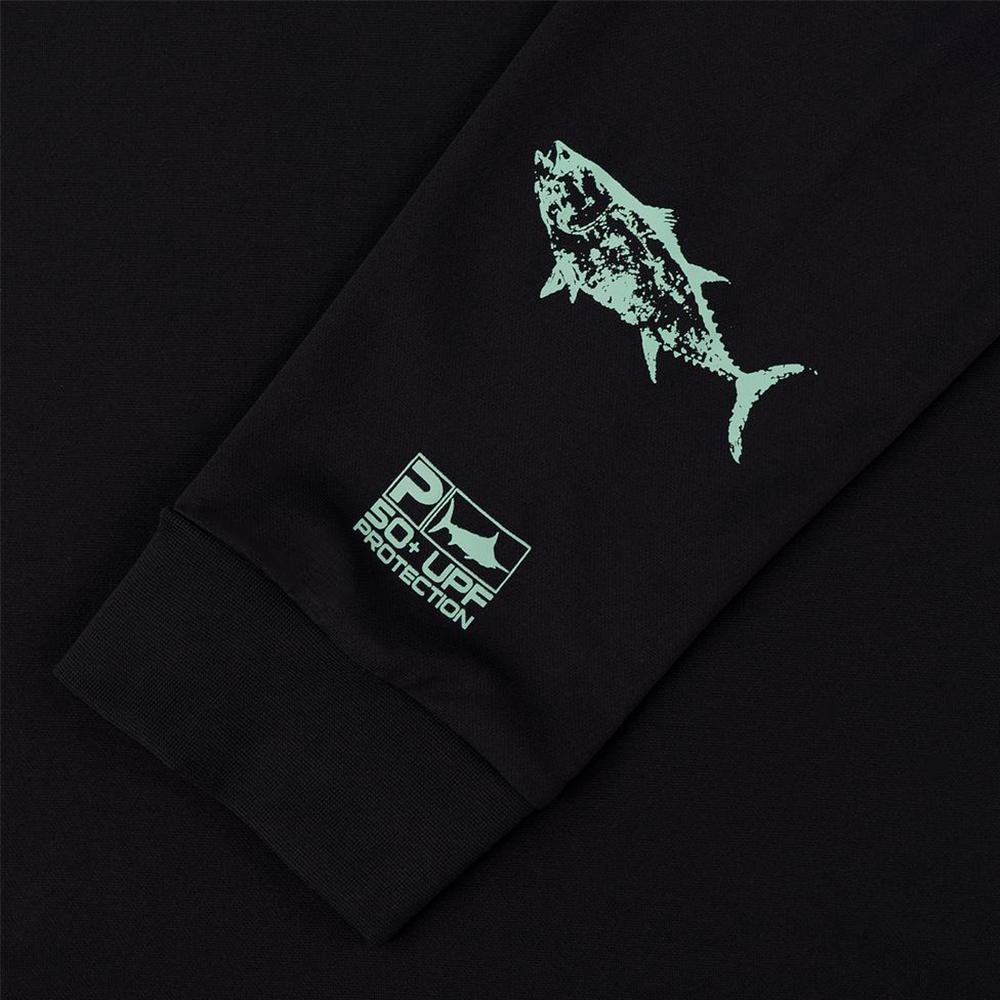 Pelagic Gyotaku Aquatek Hoodie Sleeve Detail - Black