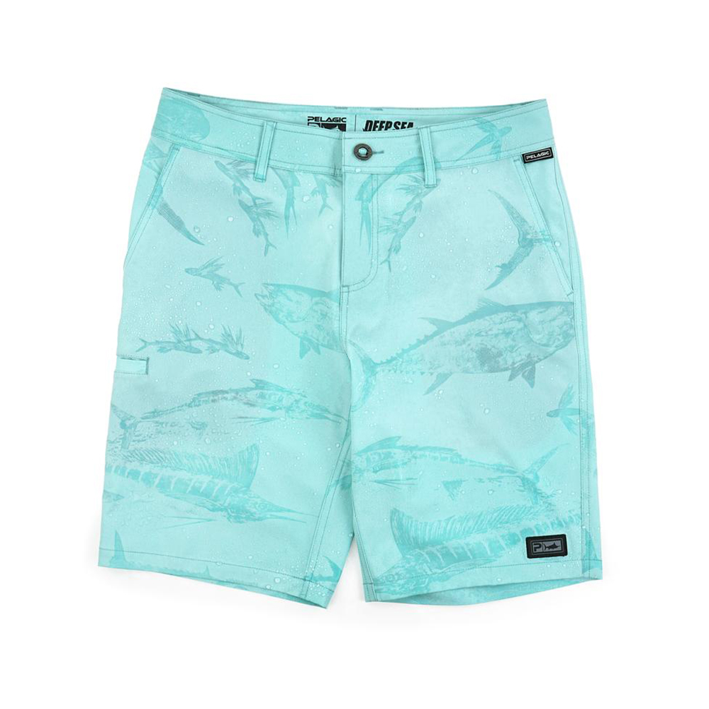 Pelagic Gyotaku Deep Sea Hybrid Fishing Shorts (Men's) Print - Turquoise