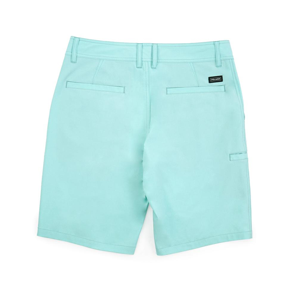 Pelagic Gyotaku Deep Sea Hybrid Fishing Shorts (Men's) Back - Turquoise