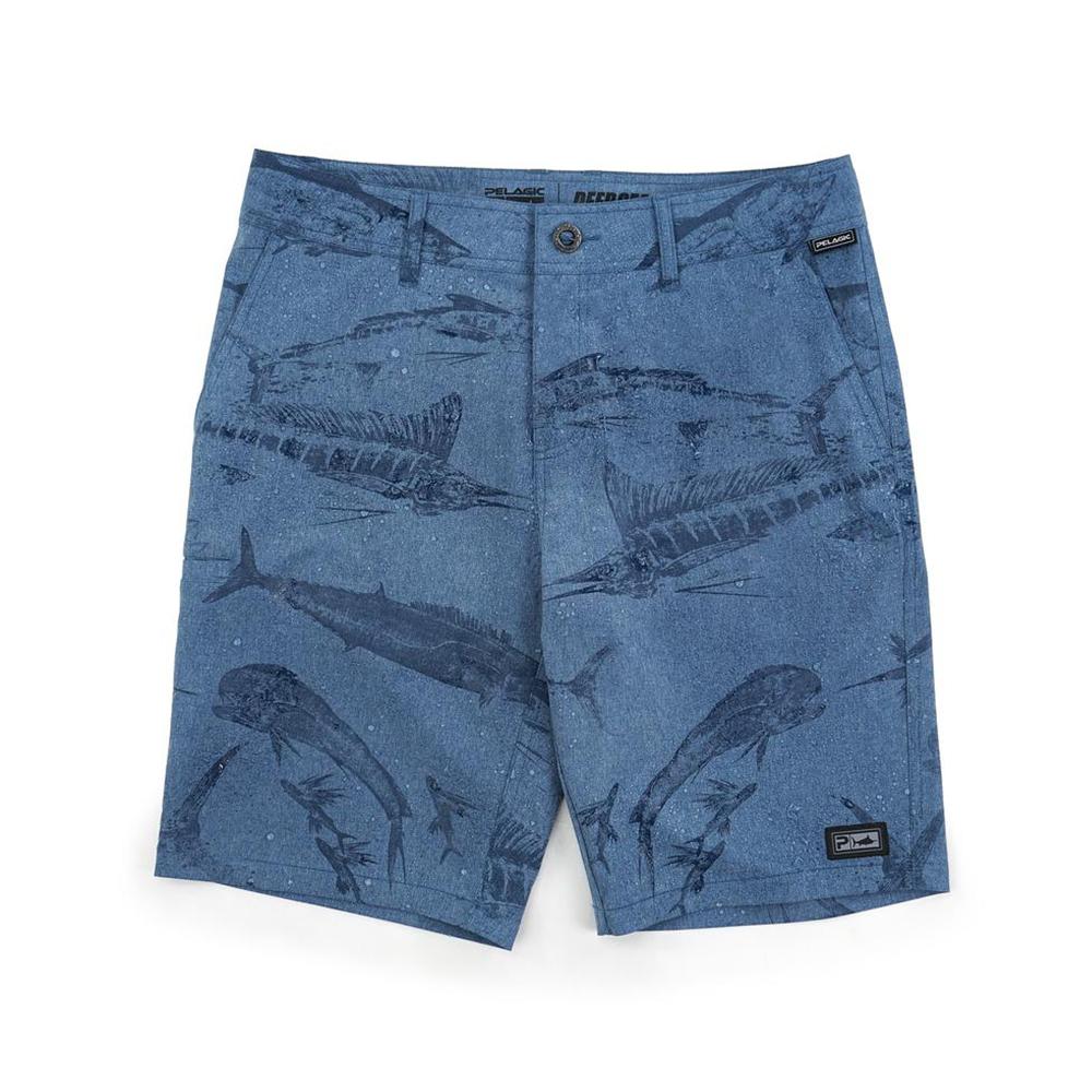 Pelagic Gyotaku Deep Sea Hybrid Fishing Shorts (Men's) Print - Smokey Blue