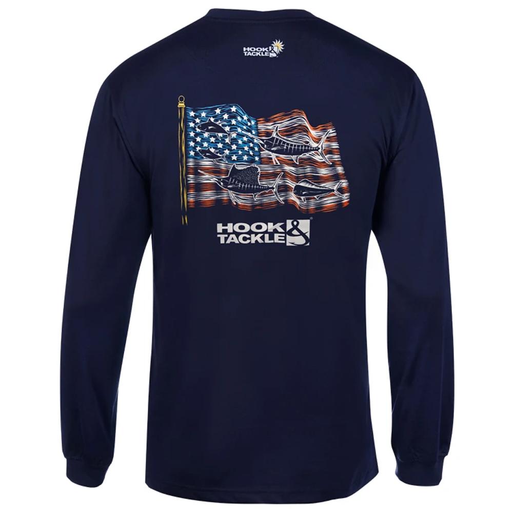 Hook & Tackle Fish Americana Long Sleeve Shirt (Men's) - Navy
