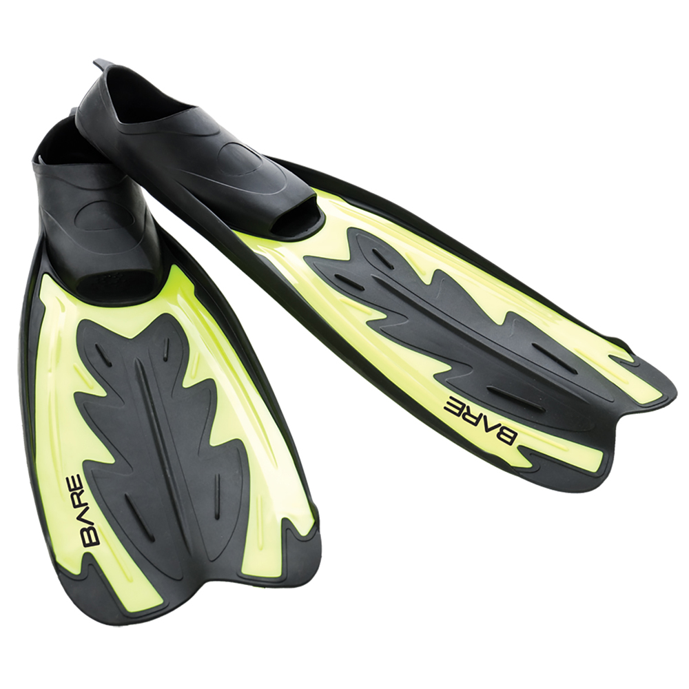 BARE Fastback Full Foot Fins (Snorkel/Dive) - Yellow