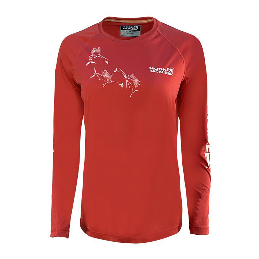 Hook & Tackle Sails and Flying Fish Long Sleeve Performance Shirt (Women's) - Fire Island Red