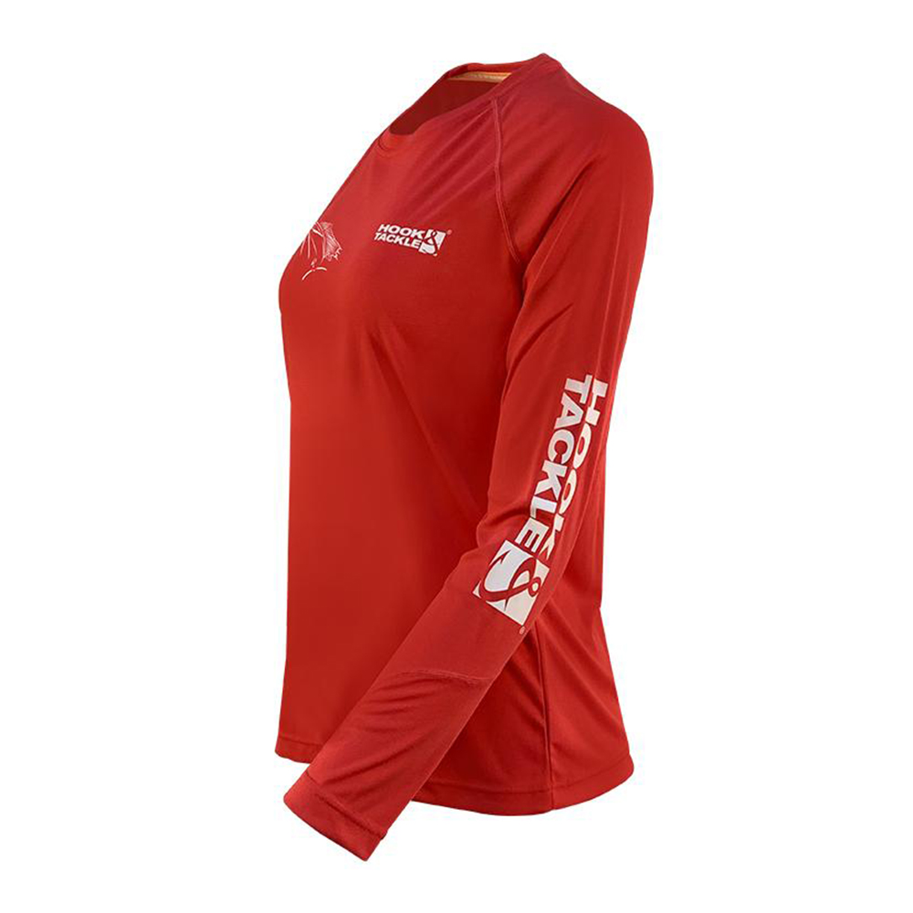 Hook & Tackle Sails and Flying Fish Long Sleeve Performance Shirt (Women's) Side - Fire Island Red