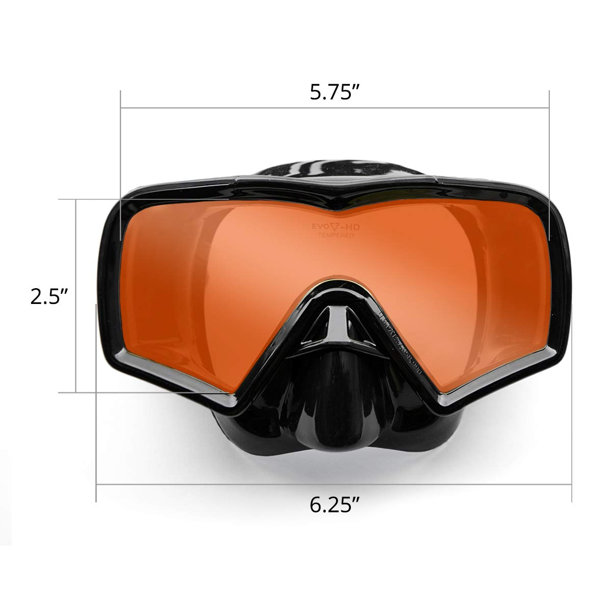 EVO Hi Definition Snorkel Combo - Single Lens Mask Dimensions
