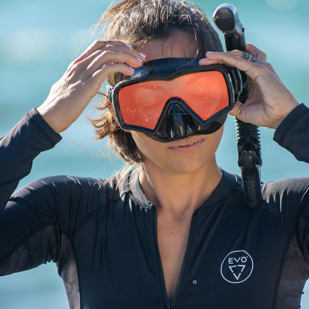 EVO Hi Definition Snorkel Combo - Single Lens Lifestyle Woman Wearing Snorkel Combo