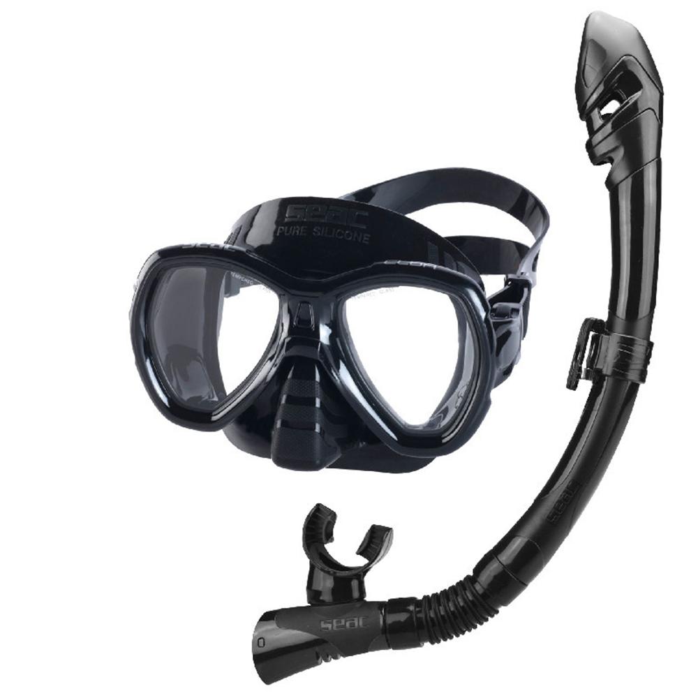 SEAC Bis Elba Dry Snorkel Set S/BL, Mask & Snorkel - Black