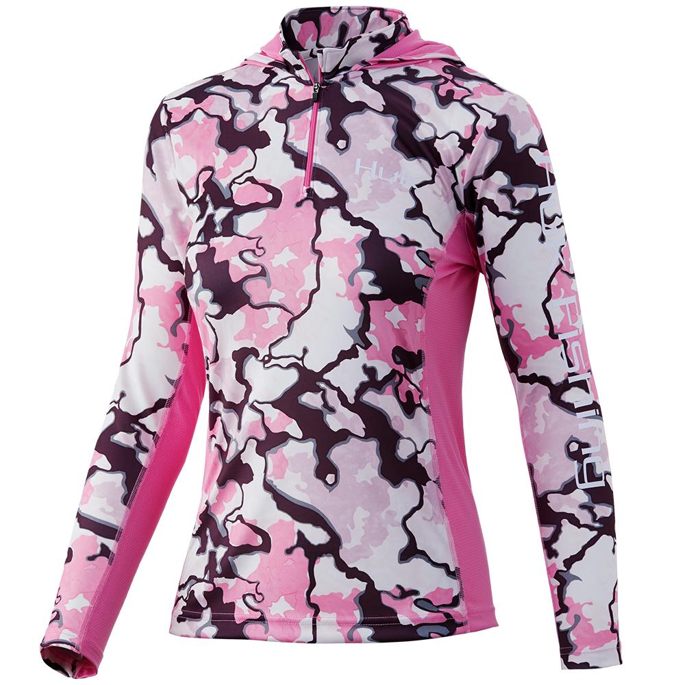 Huk Icon X Current Camo Hoodie (Women's) - Salmon Pink