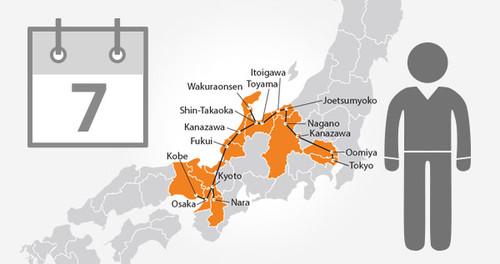 Osaka-Tokyo-Hokuriku Arch Pass - 7 Days- Adult
