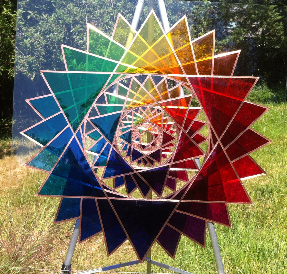 """28"""" Star of One with theater gels on plexiglass"""