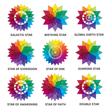 "Set of All 9 Stars- 4"" Static Clings"