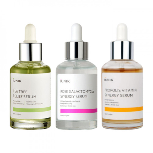 iUNIK Special Limited Edition Serum Set: Tea Tree Relief Serum, Rose Galactomyces Synergy Serum and Propolis Vitamin Synergy Serum