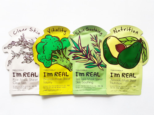 Tony Moly I'm Real! Sheet Face Masks: Rice, Broccoli, Tea tree and Avocado