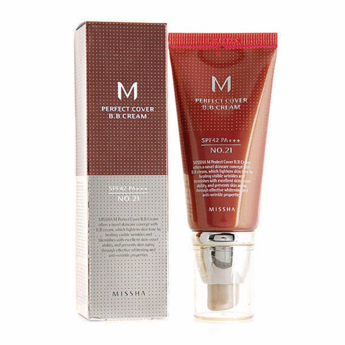 Missha M Perfect Cover BB Cream SPF 42 PA+++ (50 mL) - long lasting and medium to high coverage.