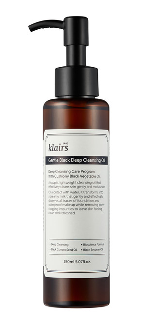 Klairs Gentle Black Deep Cleansing Oil  - a mild cleanser that is suitable for sensitive skin. Its hypo-allergenic formula is packed with vegetable oils that gently cleanse, moisturise and protect the skin.