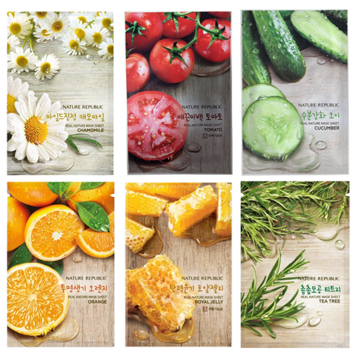 Nature Republic Real Nature Sheet Face Masks - give your skin the nourishment it needs for a healthy glow. Choose from: Chamomile, Tomato, Cucumber, Orange, Royal Jelly or Tea Tree