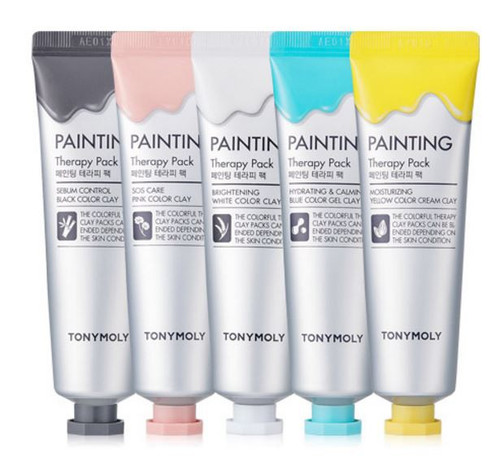 Tonymoly Painting Therapy Pack. Paint your complexion to perfection with these colourful, fun face masks. Use the colours that address your skin's concerns.