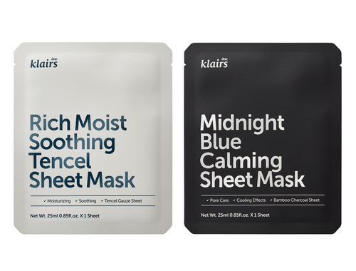 Klairs Rich Moist Soothing Tencel Sheet Mask and Klairs Midnight Blue Calming Sheet Mask.