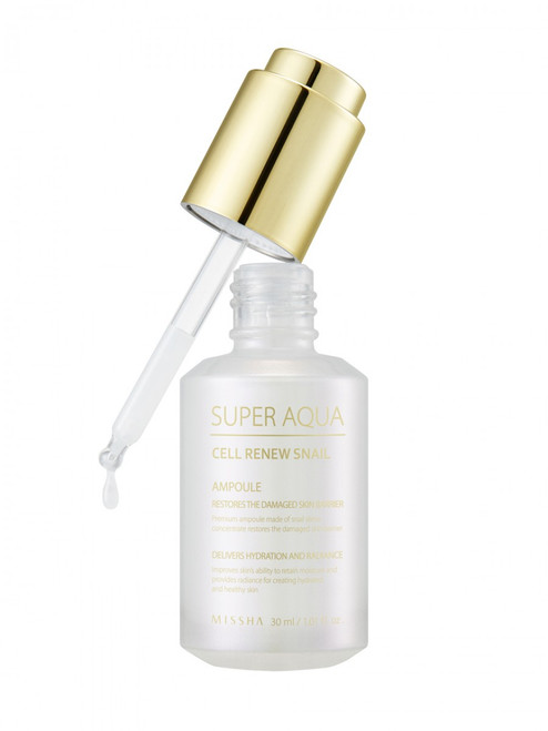 Missha Super Aqua Cell Renew Snail Ampoule - smooth those fine lines and wrinkles and fade hyperpigmentation with 65% snail mucin extract and medical grade EGF peptides.