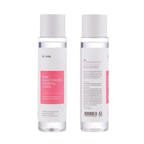 iUNIK Rose Galactomyces Essential Toner: Moisturises and refines pores with 70% Rosa centafolia flower water (rose water). Nourishes skin and fight wrinkles with 10% Galactomyces ferment filtrate.