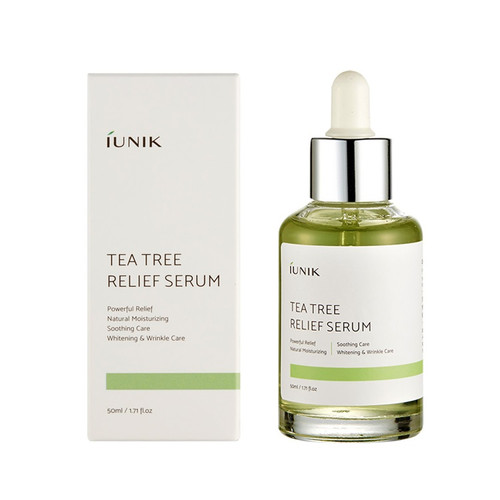 iUNIK Tea Tree Relief Serum 50 mL: Soothes and moisturises skin. Contains 67% Tea tree extract, 19.5% Centella asiatica extract and extracts from six types of sprouts.