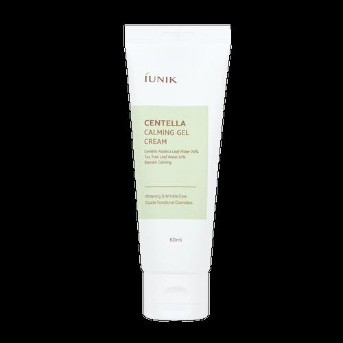 iUNIK Centella Calming Gel Cream 60 mL: Calms inflamed and sensitive skin with 70% Centella asiatica leaf water and 10% Tea tree leaf water.
