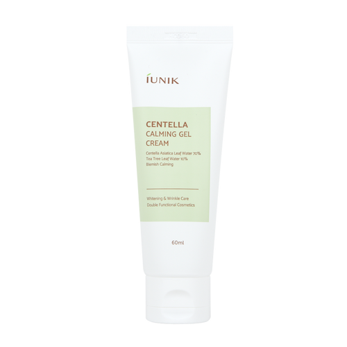 iUNIK Centella Calming Gel Cream 60 mL: Calms inflamed and sensitive skin with 70% Centella asiatica leaf water and 10% Tea tree leaf water.